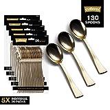 gold salad spoons - 130 Gold Plastic Spoons | Heavy Duty Plastic Silverware Spoons | Fancy Plastic Cutlery | Elegant Disposable Spoons Pack | Bulk Disposable Flatware | Plastic Utensils Set | Nice Disposable Silverware