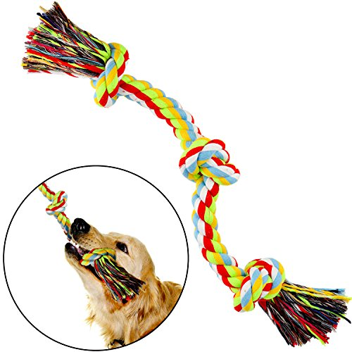 LOVEKONG Dog Chew Rope, Tough Dog Chew Toys for Aggressive Chewers Thick Durable 3 Knot Rope Dog Toy Ideal for Tug of War Best Dental Floss Rope Toy for Large ()