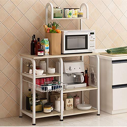 Mr IRONSTONE Kitchen Baker's Rack Utility Storage Shelf 35.5″ Microwave Stand 3-Tier+4-Tier Shelf for Spice Rack Organizer Workstation (Light Beige)