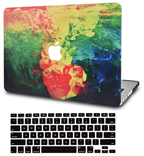 """KECC Laptop Case for MacBook Air 13"""" w/Keyboard Cover Plastic Hard Shell Case A1466/A1369 2 in 1 Bundle (Ink Diffusion)"""