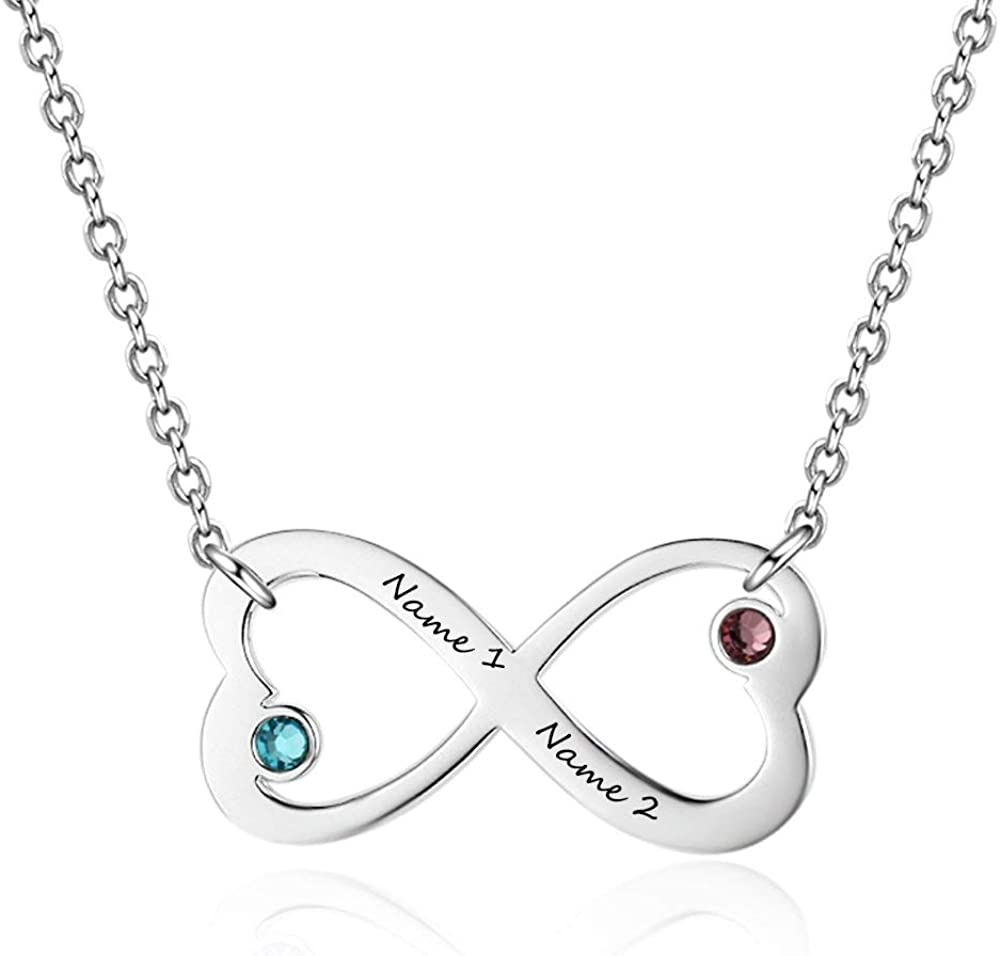 Grand Made Nombre Personalizado Collar con Infinito 2 Piedras Simuladas Piedra de Nacimiento Promesa Collar Joyas Mujeres para el Día de San Valentín