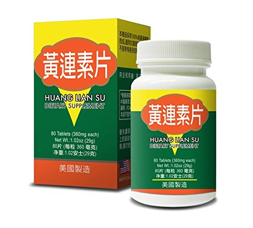Huang Lian Su Pian Supplement Helps Bloody Or Water Stools Abdominal Pain Vomitting & Fever Conjunctivitis Food Poisoning Gastroenteritis Abdominal Distension 360mg 80 Tablets Made in USA Review