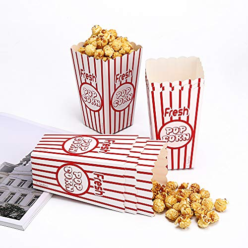 24 Movie Party Popcorn Boxes Food Grade - Striped Red and White - Supplies for Movie Night, Theaters, Festivals, Carnival Party Theme]()