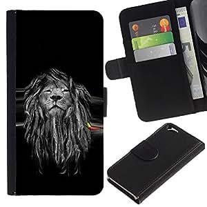 EJOY---La carpeta del tirón la caja de cuero de alta calidad de la PU Caso protector / Apple Iphone 6 / --Hermosa Majestic Lion Rasta