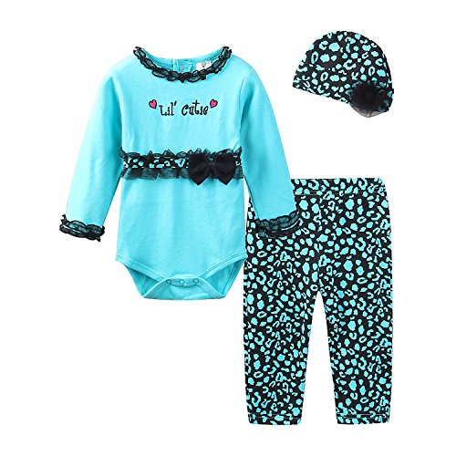 y Girl Romper Set with Hat 12-18 Months Mint Green Lil' Cutie ()