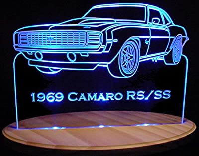 """1969 Camaro RS / SS 13"""" Acrylic Lighted Edge Lit LED Sign / Light Up Plaque 69 VVD1"""