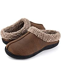 Men's Memory Foam Wool-Like Lining Slipper with Short Faux Fur Collar House Shoes Indoor Outdoor Slip on Clogs