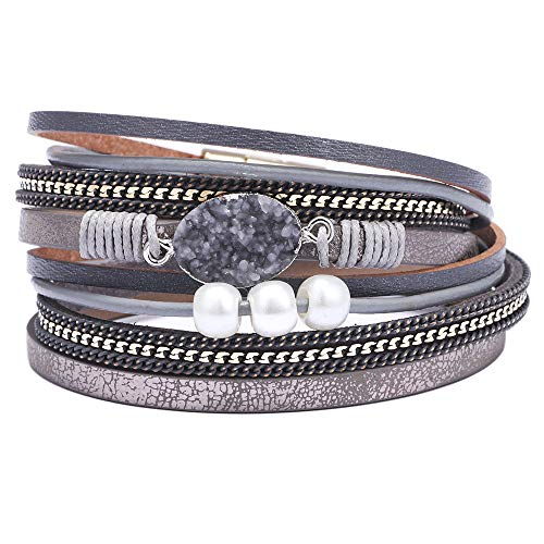 AZORA Womens Leather Wrap Bracelet Handmade Pearls Beads Cuff Bangle Bracelets for Women Girls (Gray-druzy Stone) ()
