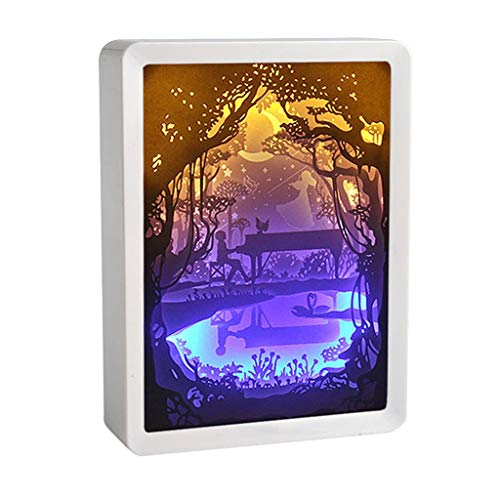 Transser ABS Frame Light Shadow Paper Carved Lights USB Night Light of Creative Shadow Paintings Art Crafts Anniversary Wedding Valentines Day Housewarming Gift Ideas Home Decor]()
