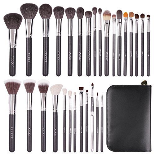 Docolor Makeup Brush 29 Pieces Professional Makeup Brushes Set Premium Goat Hair Essential Cosmetics Make Up for Face Eye Shadow Foundation Blush Lip Powder Liquid Cream Blending with PU Leather Case