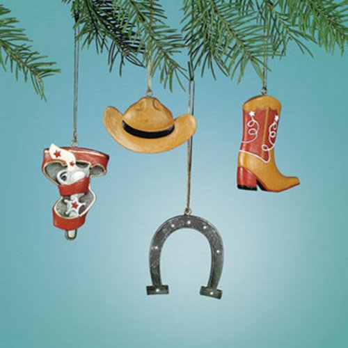 Cowboy Christmas Tree Ornaments - 4 Piece Set
