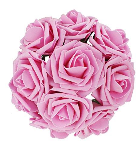 50pcs Foam Rose Flower Head Artificial Flowers Bouquet (Yellow) - 2