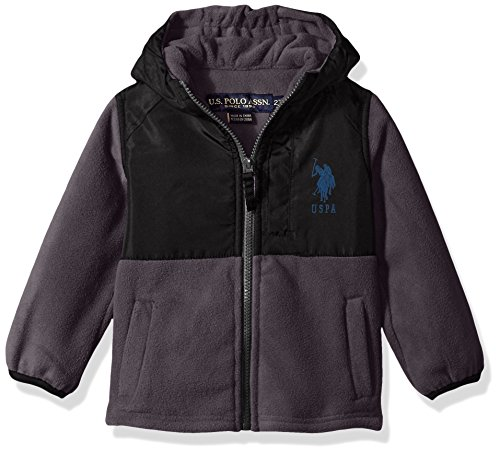US Polo Association Toddler Boys' Outerwear Jacket (More Styles Available), UB87-Polar Fleece-Charcoal, (Fleece Clearance)