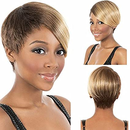 Para mujer pelo peluca Ombre sintético peluca luz dorado corto recto sintético fabuloso peluca Natural como