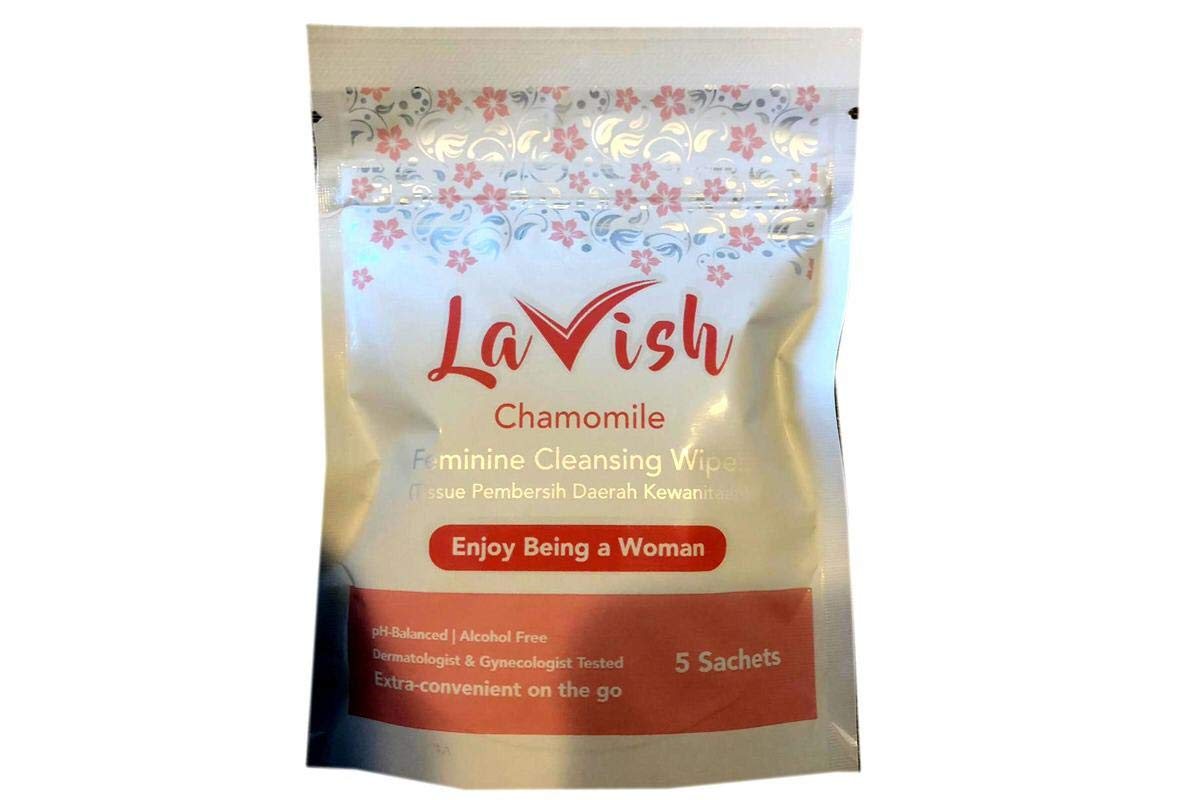 Feminine Cleansing Wipes (Chamomile) - 5pcs (Pack of 1) by Lavish (Image #1)