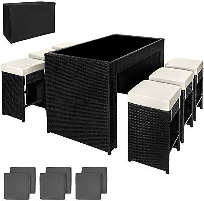 TecTake Poliratán Aluminio Conjunto Barra de Bar y 6 taburetes para jardin de Ratán + Set de fundas intercambiables + Funda completa - disponible en diferentes colores - (Negro | No. 401181): Amazon.es: Hogar