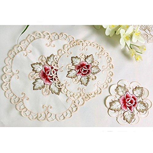 LARARHEE-2pcs/4pcs Peony Embroidery Cutwork Tissue Box Table Runner Cover Decor Set - World Twitter Runners