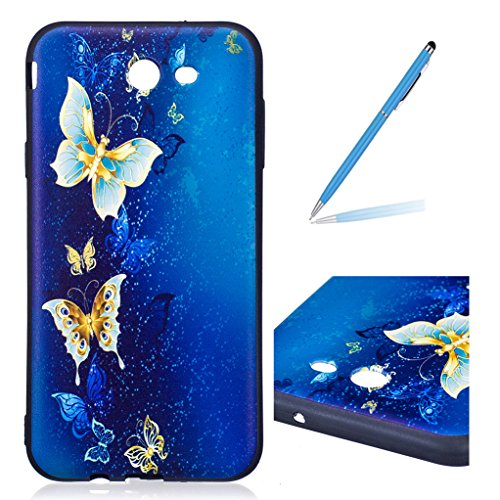 Trumpshop Smartphone Protective Case for Samsung Galaxy J7 Sky Pro (TracFone) SM-J727 + Blue Butterfly + Sculpture Design Ultra Soft Flexible TPU Silicone Cover Anti-Scratch Shockproof
