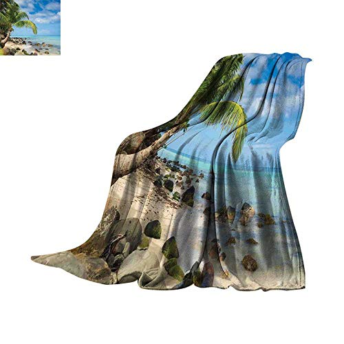 homehot Seaside Decor Blanket as Bedspread Romantic Beach Tranquil Scene Palm Trees Caribbean Island Nature Photography Fleece Blanket Throw Throw Blanket 70