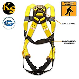 KwikSafety Single D-Ring Full Body Fall Protection Safety Harness   Premium Yellow Webbing Personal Protective Equipment w/ Steel Buckles   Safe Security Roofing Construction Emergency Climbing