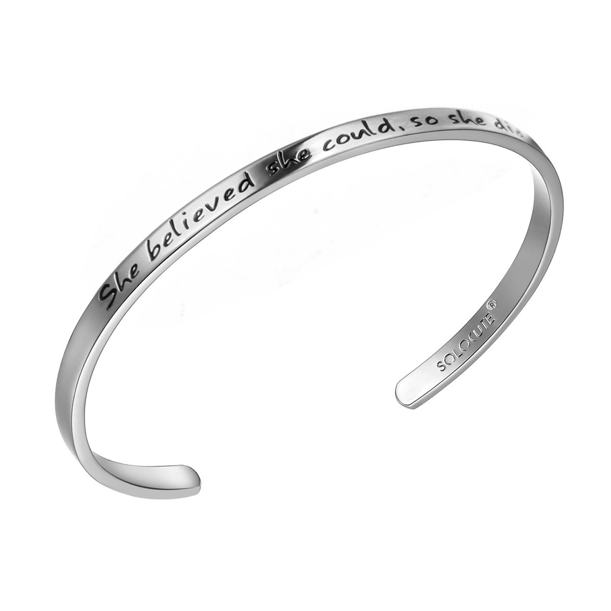 SOLOCUTE Cuff Bangle Bracelet Engraved She Believed she Could So she did Inspirational Jewelry SC024GD