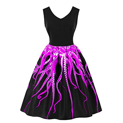 iShine Übergröße Rockabilly Kleid Damen V-Ausschnitt Rockabilly Kleid  Festlich Kleid für damen Swing Kleid 934778ffe7