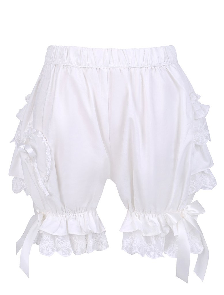 Trendareus Women's Cotton Sweet Ruffles Lolita Maid Pumpkin Shorts Bloomers,White1,Large