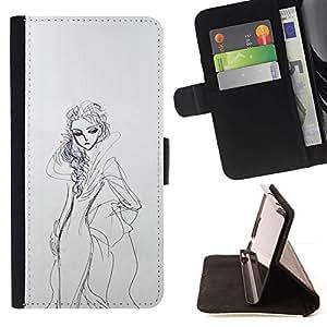 Momo Phone Case / Flip Funda de Cuero Case Cover - Boceto del vestido de la mujer Dibujo Lápiz Moda - Samsung Galaxy J1 J100