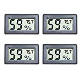 4-Pack Mini Digital Temperature Humidity Meters Gauge Indoor Thermometer Hygrometer with LCD Display Fahrenheit (℉) for Humidors, Greenhouse, Garden, Cellar, Fridge, Closet