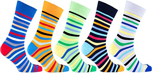 Socks n Socks-Men's 5-pair Luxury Cotton Striped Cool Dress Socks Gift Box Mens Multi Colored Dress