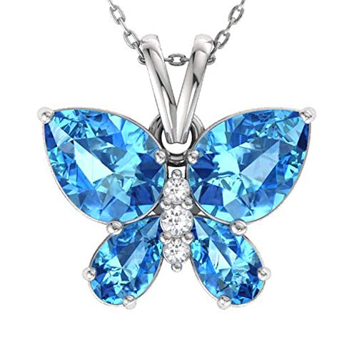 Diamondere Natural and Certified Blue Topaz and Diamond Butterfly Pendant in 14k White Gold | 1.11 Carat SI1-SI2 Quality Necklace with Chain ()