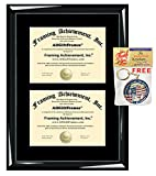 Double Certificate Frames Dual Degree Diploma Framing College Document Holder Glossy Majestic Black Wood Graduate Frame Gift Alumni Collegiate State Board Certification Plaque