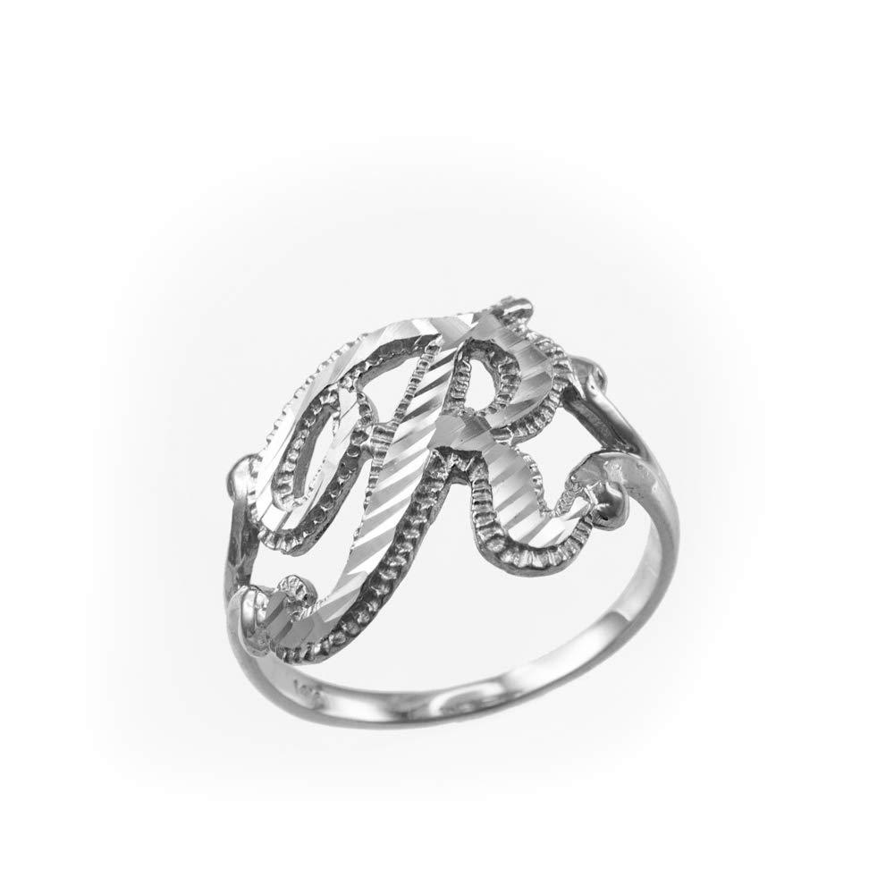 Sparkle-Cut Letter Initial Script Ring In 10K White Gold (Letter R, Size 8)
