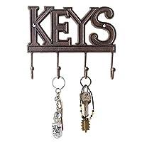 Soporte para llaves Comfify - Llaves - Gancho para llaves montado en la pared - Percha para llaves rústica de hierro fundido occidental - Rack organizador de llaves decorativas con 4 ganchos - Con tornillos y anclajes - 6x8 pulgadas (marrón óxido)