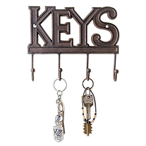 Key Rack Four Hook - Comfify Key Holder - Keys - Wall Mounted Key Hook - Rustic Western Cast Iron Key Hanger - Decorative Key Organizer Rack with 4 Hooks - with Screws and Anchors - 6x8 inches (Rust Brown)