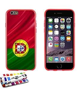 Carcasa Flexible Ultra-Slim APPLE IPHONE 6 4.7 POUCES  de exclusivo motivo [Portugal Bandera] [Roja] de MUZZANO  + ESTILETE y PAÑO MUZZANO REGALADOS - La Protección Antigolpes ULTIMA, ELEGANTE Y DURADERA para su APPLE IPHONE 6 4.7 POUCES