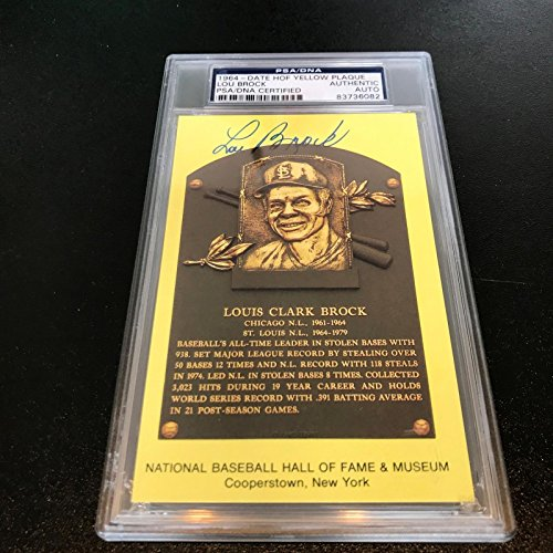 Lou Brock Signed Autographed Hall Of Fame Plaque Baseball Card PSA DNA COA - Lou Brock Ball