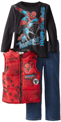 Marvel Little Boys' 3 Piece The Amazing Spider Man Vest Pullover and Pant, Red, 3T