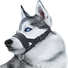 Nylon Dog Muzzle for Large Dogs Prevent from Biting,Barking and Chewing,Adjustable Loop(L/Black)