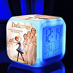Ballerina the Dreams of becoming Ballerina Felicie Victor Alarm Clock with 7 Changing Colors Cute Cartoon LED Clock (Style 2)