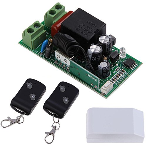 WILLAI Mayitr 315MHz Wireless 1CH 2 Buttons Transmitter Receiver + 2 Remote Control Switch Module Controllers RF Transceiver AC220V