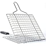 MZS Tec BBQ Grilling Basket, Portable Stainless Steel Baking Basket For Kitchen/Outdoor, Long Handle For Vegetable Fish Chicken and Many Other Food (L, Silver)