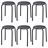 COSTWAY Stackable Daisy Design Metal Stool Backless Round Top Kitchen Home, Garden & Living(6-Pack) (Black)