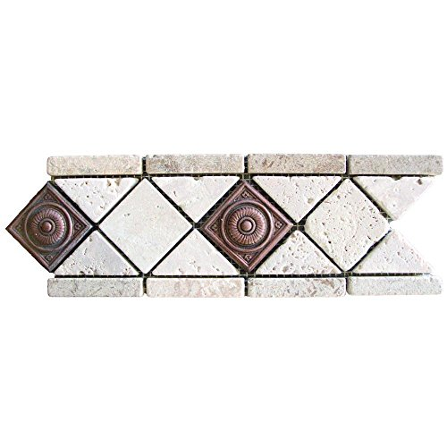 MS International 4 In. x 12 In. Noche/ Chiaro Copper Scudo Travertine/Metal Listello Floor & Wall Tile (1 Ln. Ft.)