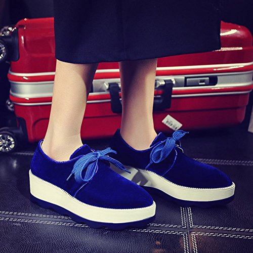 Carolbar Mujeres Lace-up Comfort Cuña Casual Plataforma Oxfords Zapatos Azul