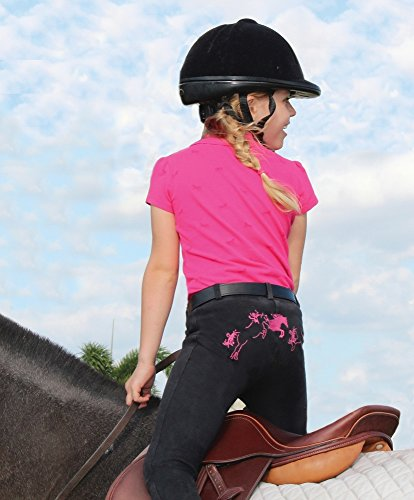 Tuffrider Riding Pants (TuffRider Kid's Whimsical Horse Embroidered Pull-On Jods, Black/Hot Pink, 6)
