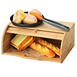 Betwoo Natural Wooden Roll Top Bread Box Bamboo Kitchen Food Storage (Self-assembly)