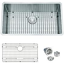 BILLION Crystal CR-U53 R10 30 Inch 16 Gauge Handmade Undermount Single Bowl Stainless Steel Kitchen Sink With Bottom Grid