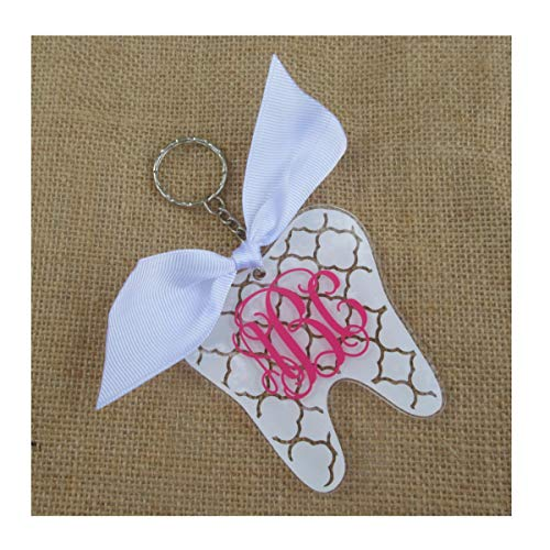Tooth Monogrammed Clear Acrylic Keychain with Ribbon - Choice of Pattern & Colors
