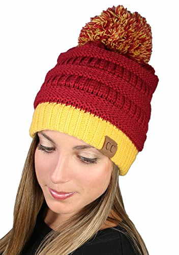 Spirit Referee Costume (CC Beanie Pro College High School Team Game Day Pom Hat - Maroon & Gold)